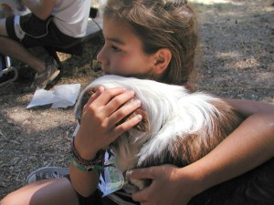 Comforting a child at camp